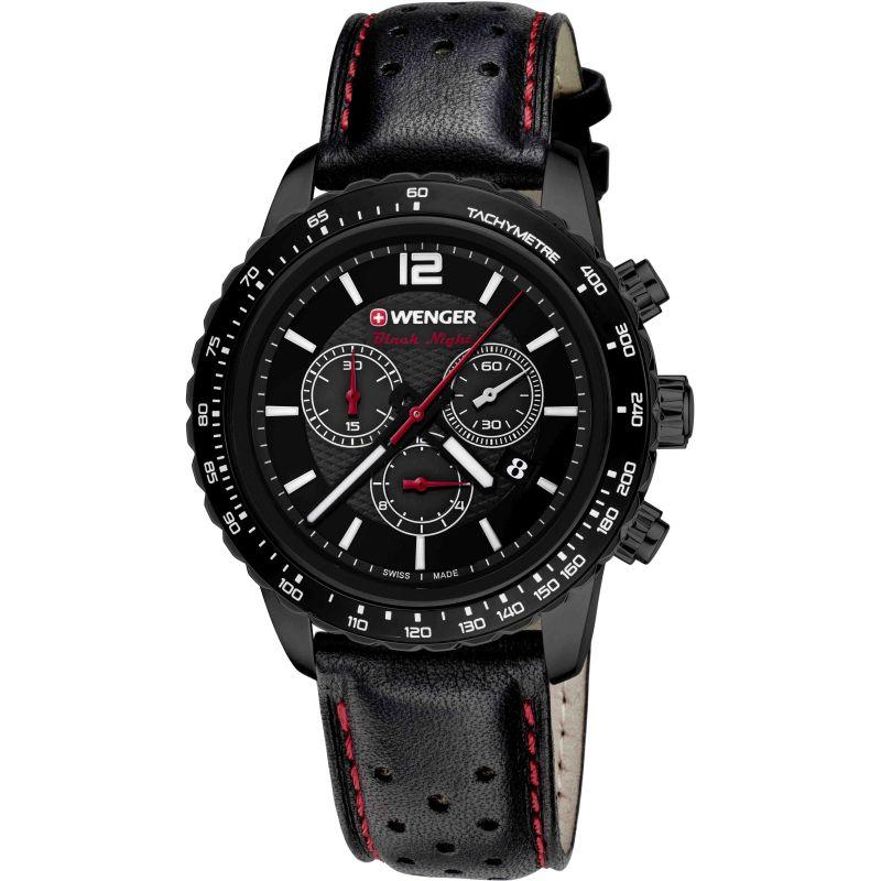 Mens Wenger Roadster Black Night Chrono Chronograph Watch