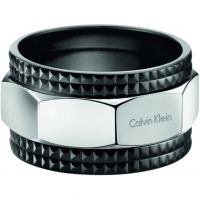 Ladies Calvin Klein Black Ion-plated Steel Size X/Y High Ring
