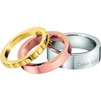 Damen Calvin Klein zwei-Tone Steel und Rose Plate Ring Größe L.5
