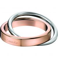 Ladies Calvin Klein Two-Tone Steel and Rose Plate Size J Coil Ring