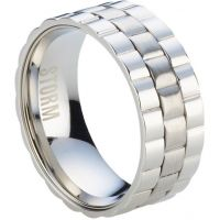 Mens STORM Stainless Steel Velo Ring Size S