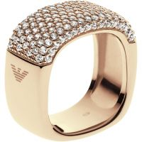 Ladies Emporio Armani Sterling Silver Size M.5 Pure Pave Ring EG3263710505
