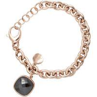 Damen Bronzallure 18ct vergoldet Bronze Rose Quarz und Haematite Armband