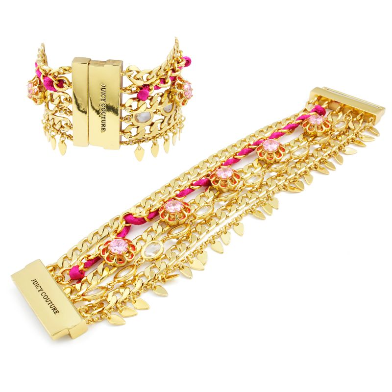 Ladies Juicy Couture Gold Plated Multi Strand Floral Bracelet WJW835-710-U