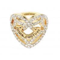 Damen Juicy Couture PVD Gold überzogen Pave offen Herz Ring