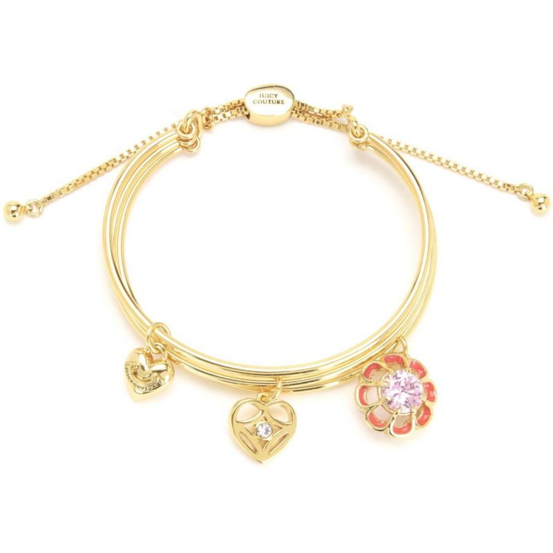 Ladies Juicy Couture PVD Gold plated Flowers Cluster Bangle WJW844-710-U