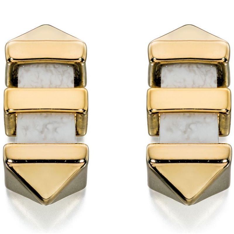 Ladies Fiorelli PVD Gold plated Marble Bar Stud Earrings E5126