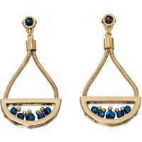 Ladies Fiorelli PVD Gold plated Cobalt Coloured Beads Earrings E5119
