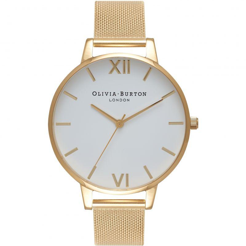 White Dial Mesh Silver & Gold Watch