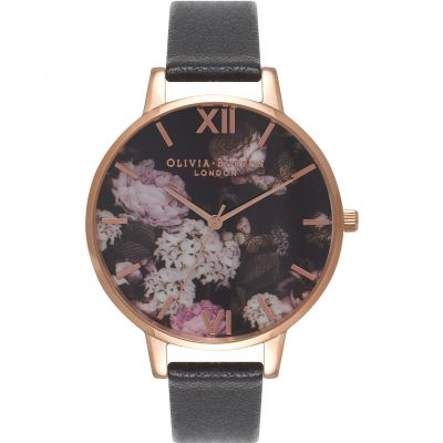 Signature Florals Black & Rose Gold Watch