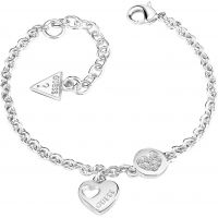 Ladies Guess Rhodium Plated Heart Devotion Bracelet