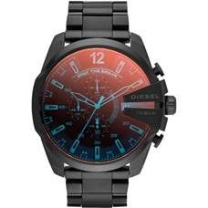 Men's black ion-plated chronograph watch