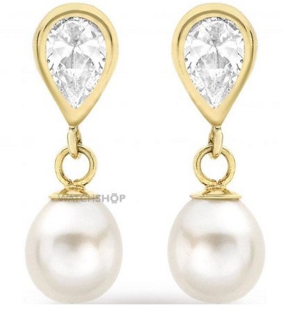 Ladies' 9ct Gold Cubic Zirconia and Pearl Earrings