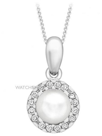 Ladies' 9ct White Gold 5mm Pearl and Cubic Zirconia Pendant