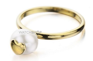 Shimla Ladies' PVD Gold plated Ring With Heart Fresh Water Pearl