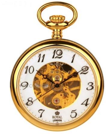 Royal London open pocket mechanical skeleton watch
