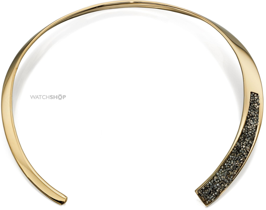FIORELLI JEWELLERY LADIES' GOLD PLATED PAVE HINGED CHOKER NECKLACE