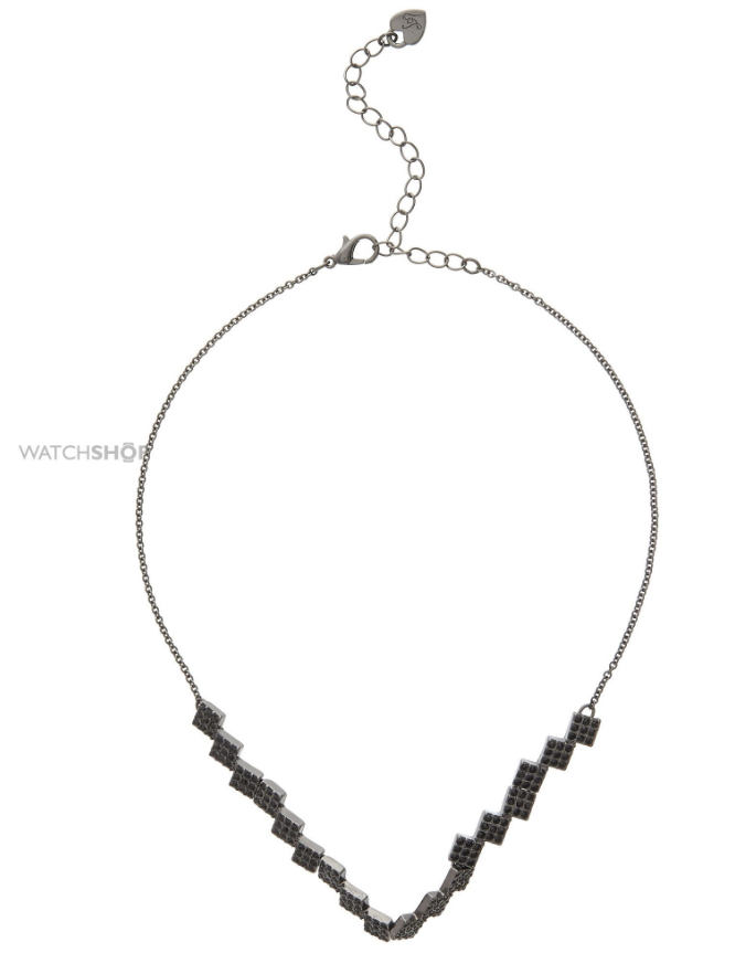 LIPSY JEWELLERY LADIES' BLACK ION-PLATED STEEL SQUARE PAVE CHOKER