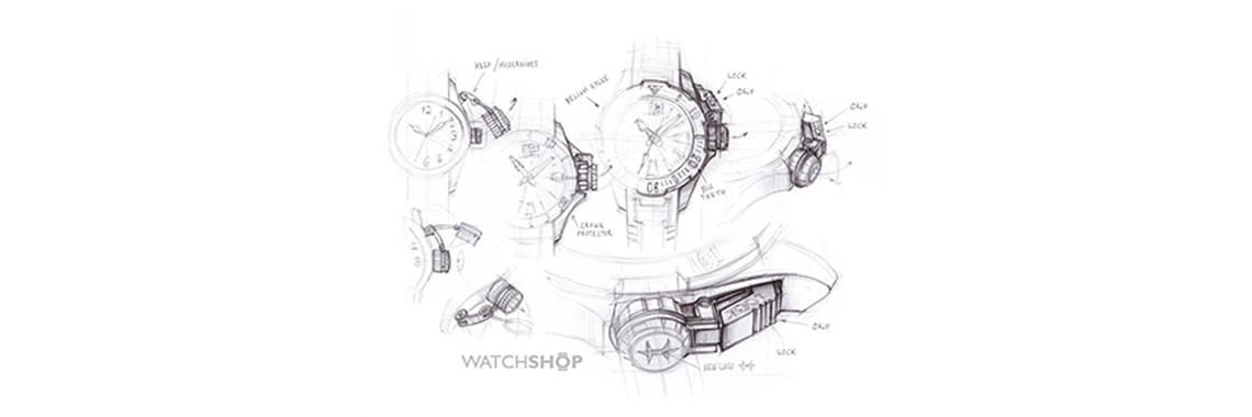 A pencil sketch of multiple watches