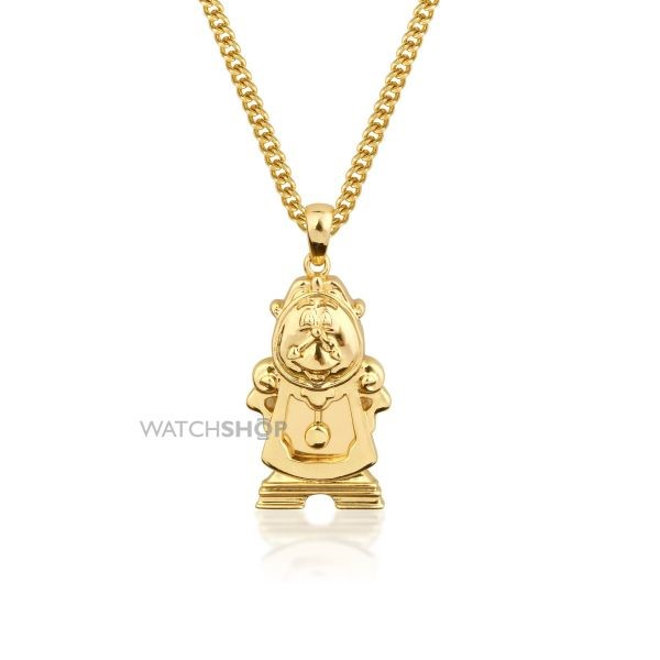 Gold Plated Beauty & The Beast large Cogsworth necklace