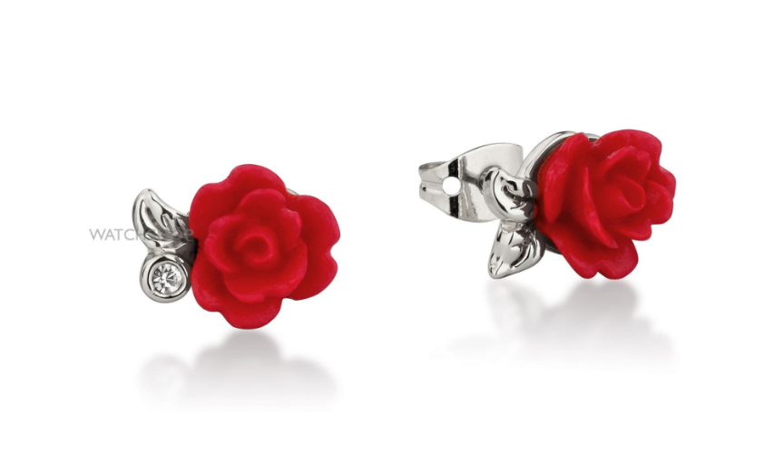 Disney Couture Ladies' White Gold Plated Beauty & the Beast Enchanted Red Rose Stud