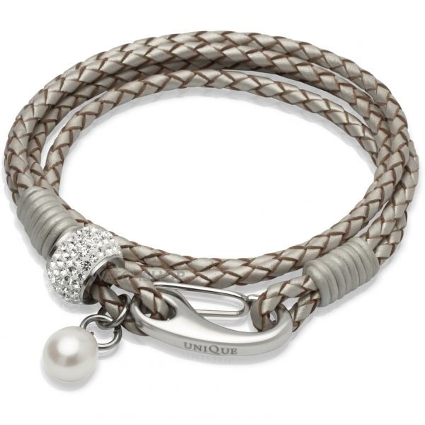 unique & Co Ladies' Unique & Co Stainless Steel Leather Bracelet