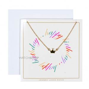Johnny Loves Rosie Jewellery Ladies' Base metal Birthday Wishes Crown Necklace Gift Card