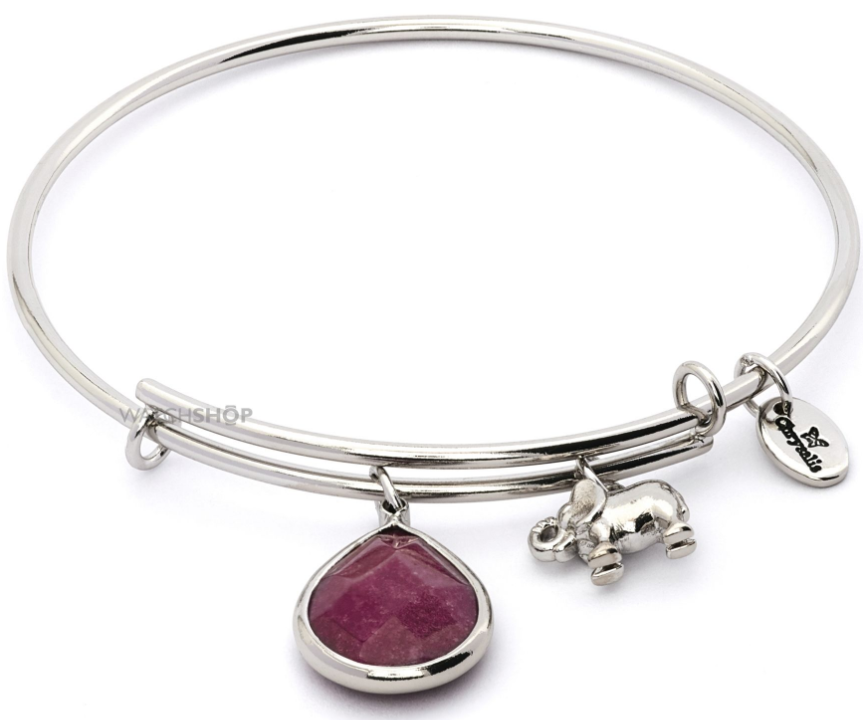 Chrysalis Ladies' PVD Silver Plated JANUARY LUNAR GARNET JADE EXPANDABLE BANGLE