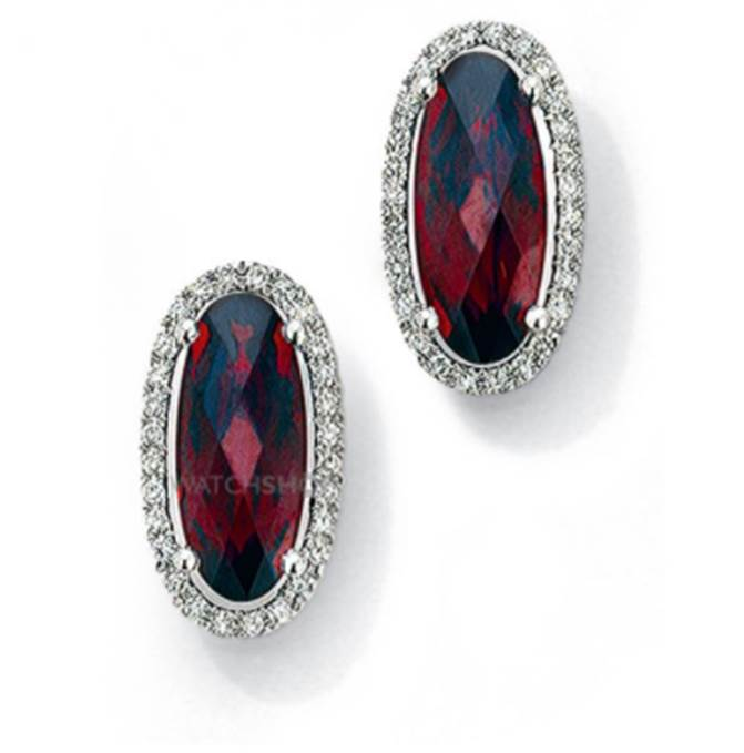 9ct White Gold Jewellery White Gold Diamond and Garnet Earrings