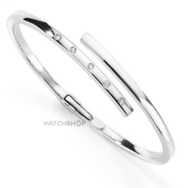 9ct White Gold Jewellery White Gold Diamond Crossover Bangle
