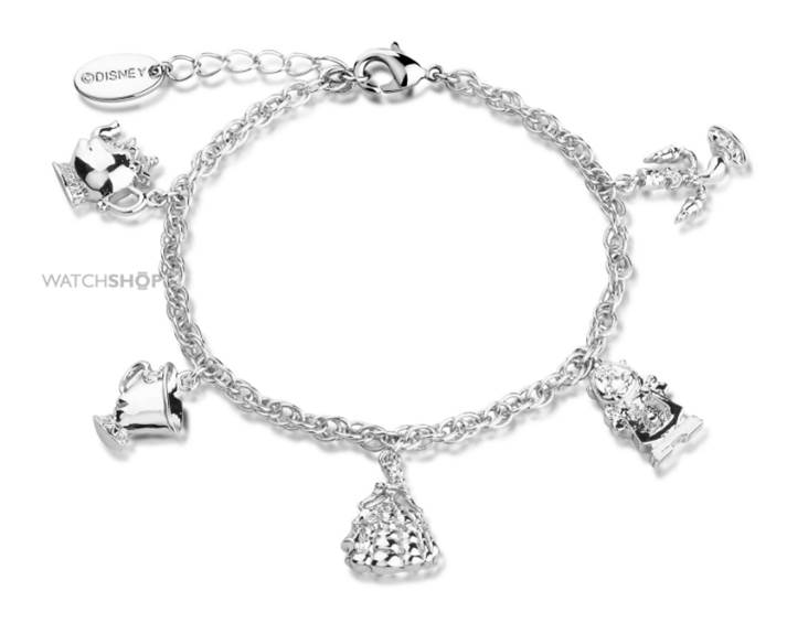 Disney Couture Ladies' White Gold Plated Beauty & the Beast Characters Charm Bracelet