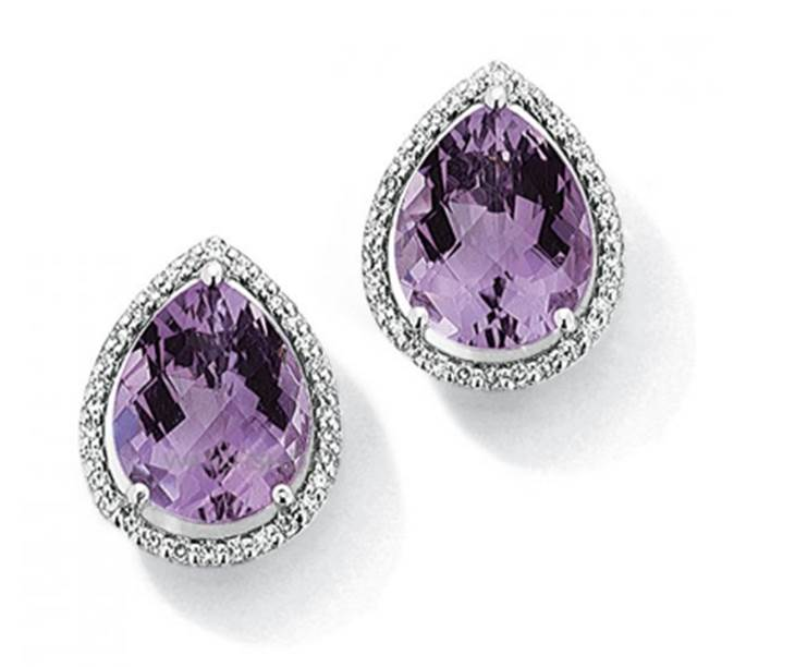 9ct White Gold Jewellery White Gold Diamond and Amethyst Earrings