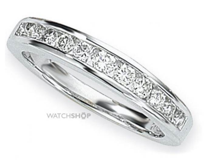 18ct White Gold Jewellery White Gold 0.50ct tw Brilliant-cut Half Eternity Diamond Ring Size Q