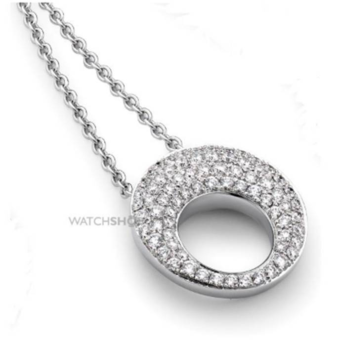 18ct White Gold  Jewellery White Gold and Pave-set Diamond Neckpiece 17in/43cm