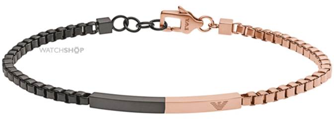 Emporio Armani Jewellery Men's PVD rose plating Composition Bracelet