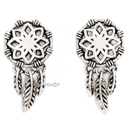 Chrysalis silver-plated dream catcher earrings