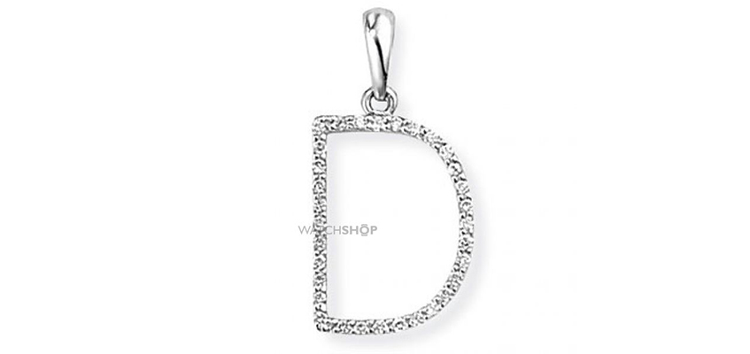 18ct White Gold Jewellery White Gold Diamond D Initial Pendant