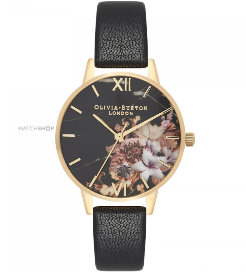 Olivia Burton Ladies' Marble Floral Black & Gold Floral Watch