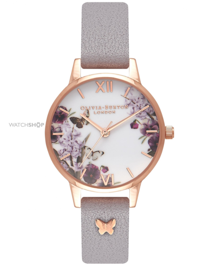 Olivia Burton Ladies' Enchanted Garden Grey Lilac & Rose Gold Watch
