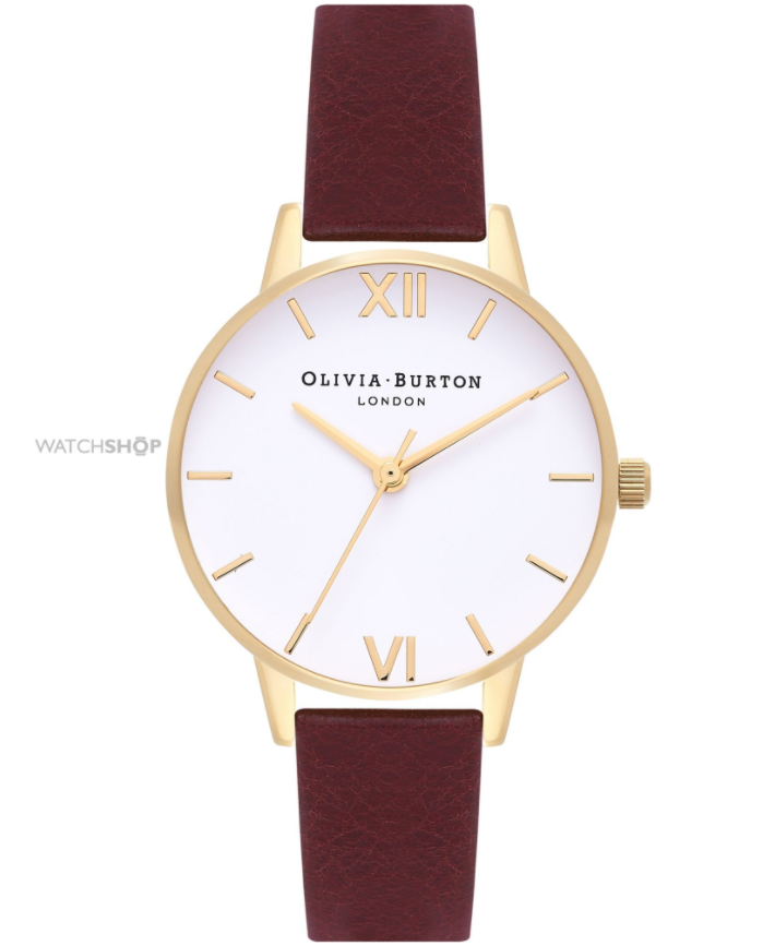 Olivia Burton Ladies' White Dial Midi Dial Burgundy & Gold Watch