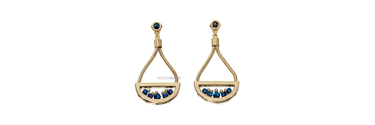 PVD gold plated cobalt coloured beads earrings