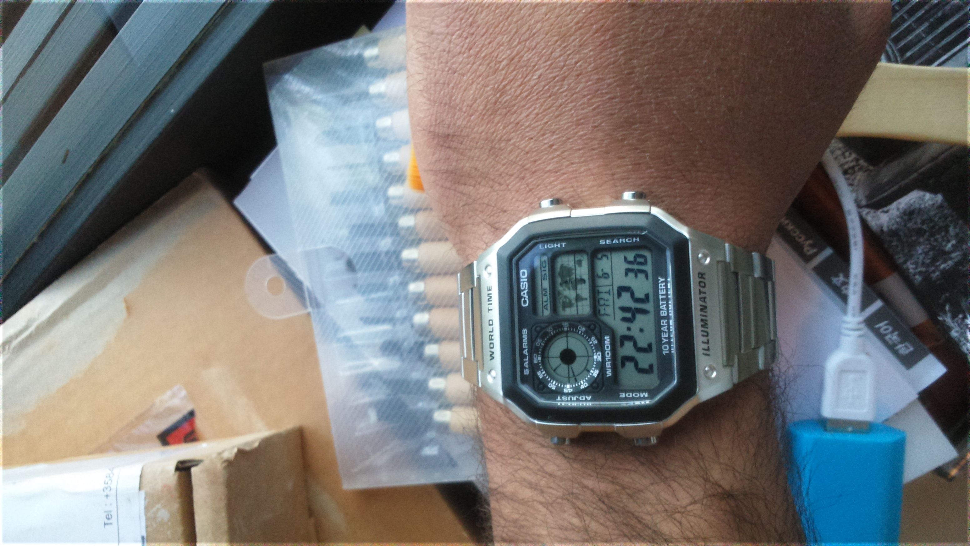 Gents Casio World Time Alarm Chronograph Watch Ae 1200whd 1avef 1000wd Original Very Nice Looking For A Reasonable Price Easy To Use Nothing Is Complicated With The Settings Even Illumination Adjustable 15 And 3