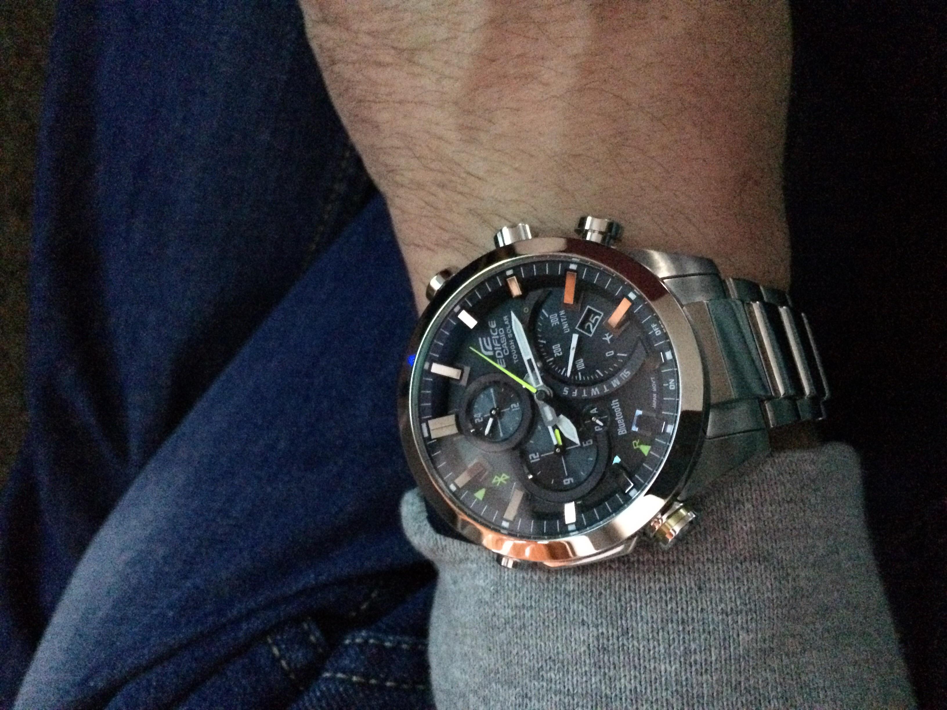 Gents Casio Edifice Time Traveller Bluetooth Hybrid Smartwatch Alarm