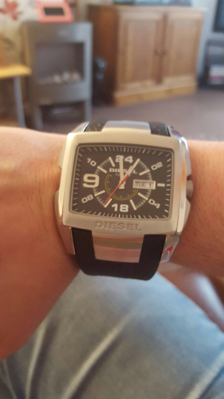 I bought this for my other half who is a diesel fan and he absolutely loves  it. Its got a chunky black leather strap and the unusual rectangular shape  is ...