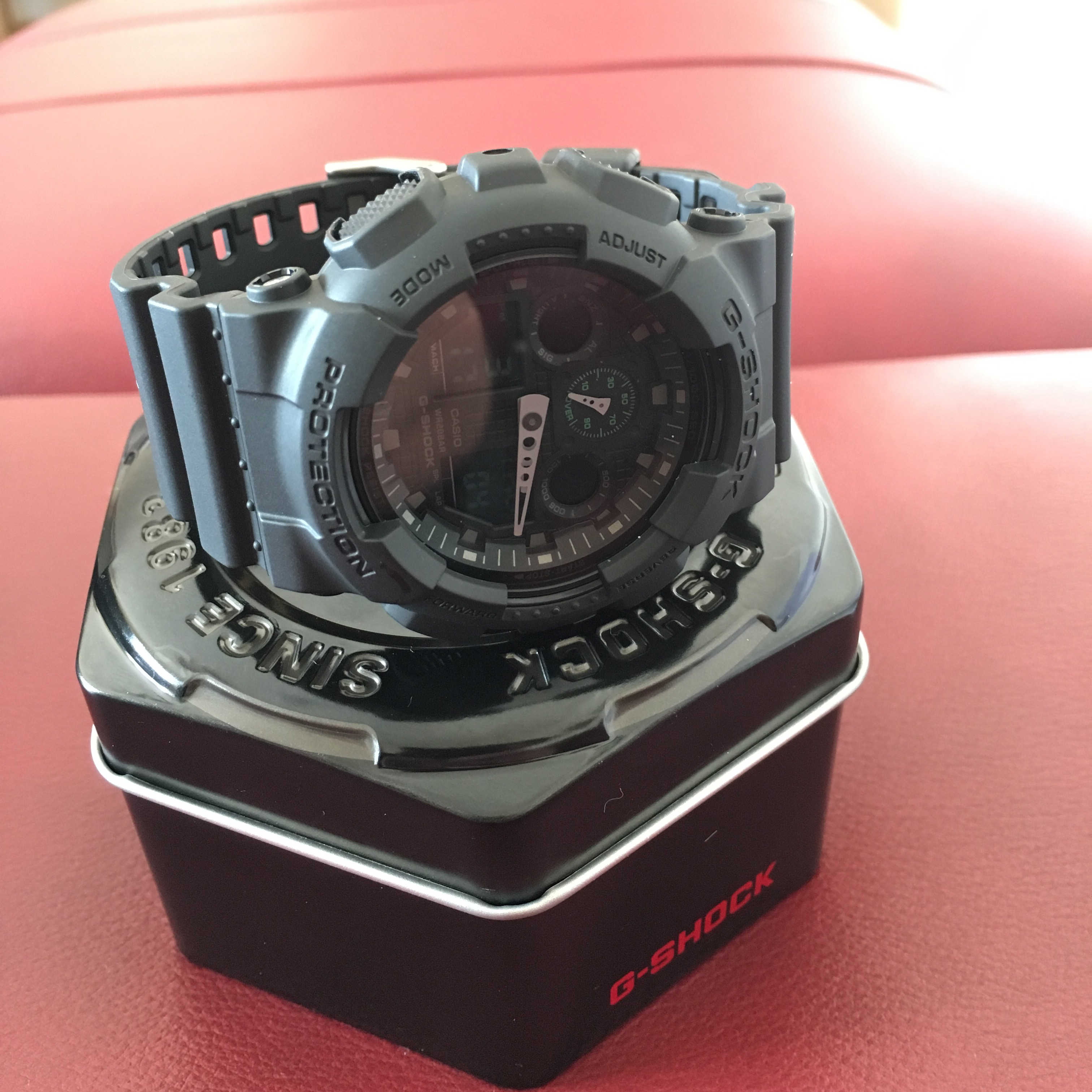 Gents Casio G Shock Military Black Alarm Chronograph Watch Ga 100mb Gshock Original Ga100mb 1adr Excellent For The Price