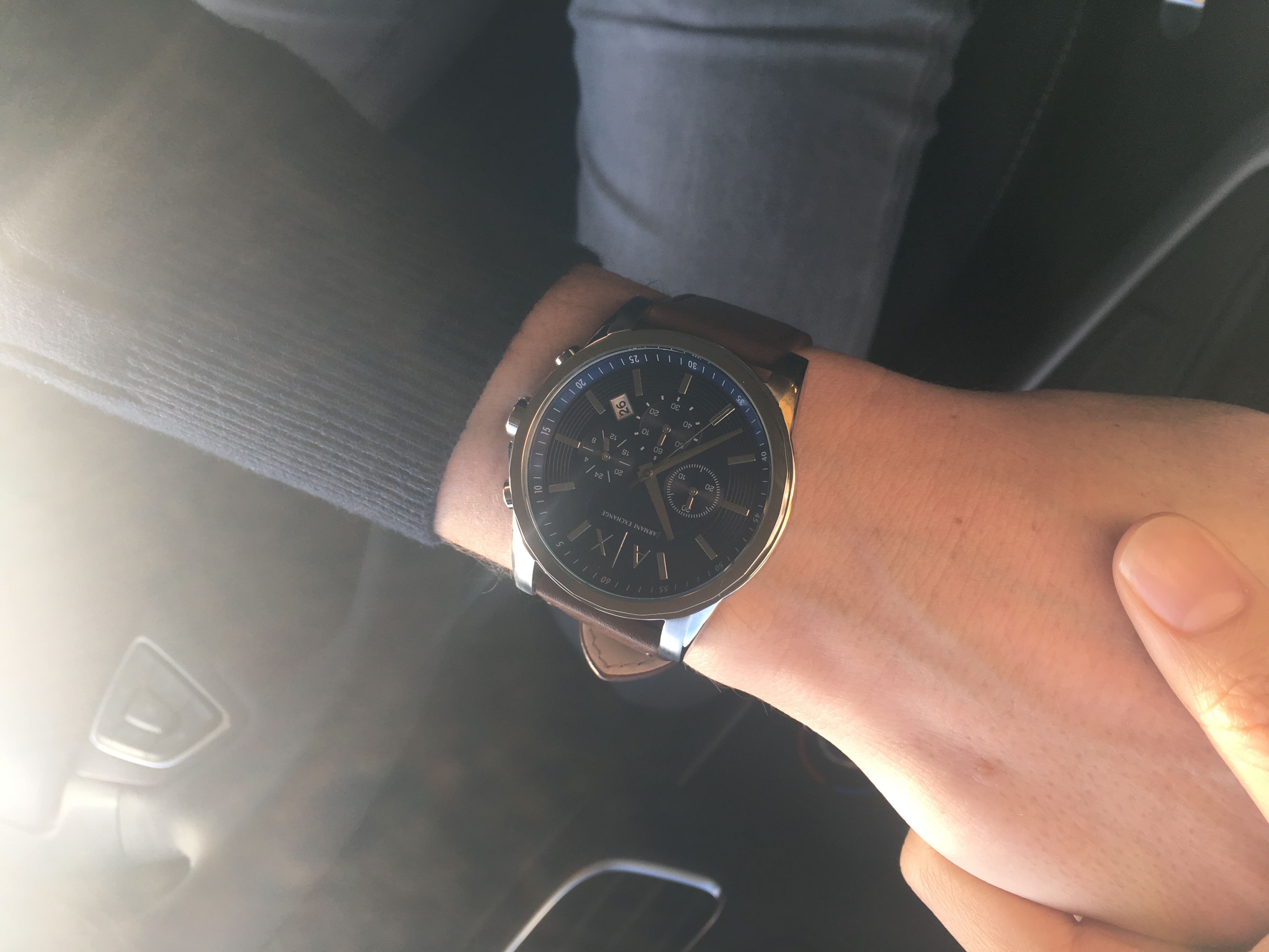 Bought this Armani Exchange as a Christmas gift for my husband.A perfect  gift ! He loves it so much. A simple and elegant design with a leather strap . 2736764c56a01