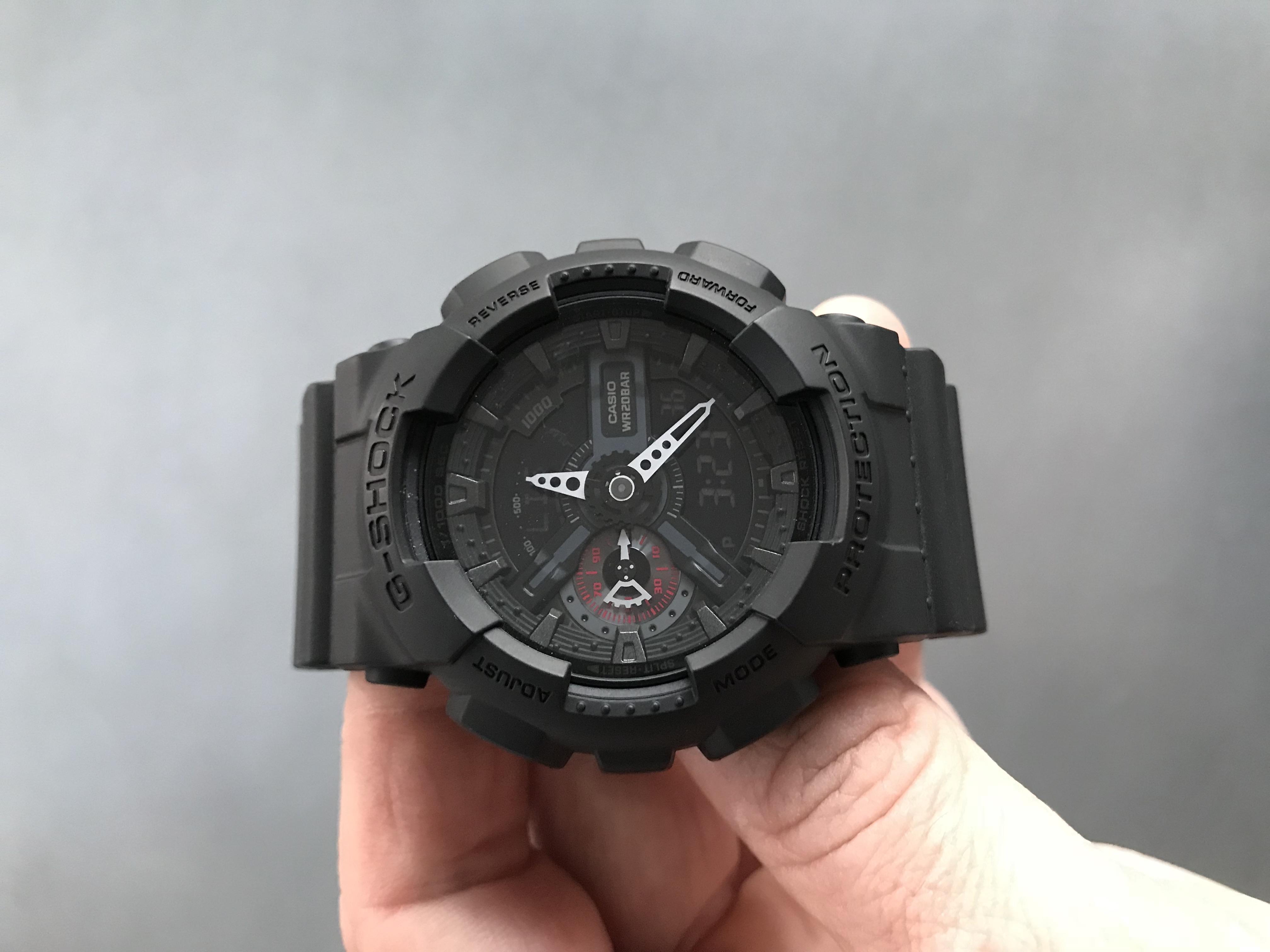 3fc3d5eb41d Gents Casio G-Shock Military Black Alarm Chronograph Watch (GA-110MB ...