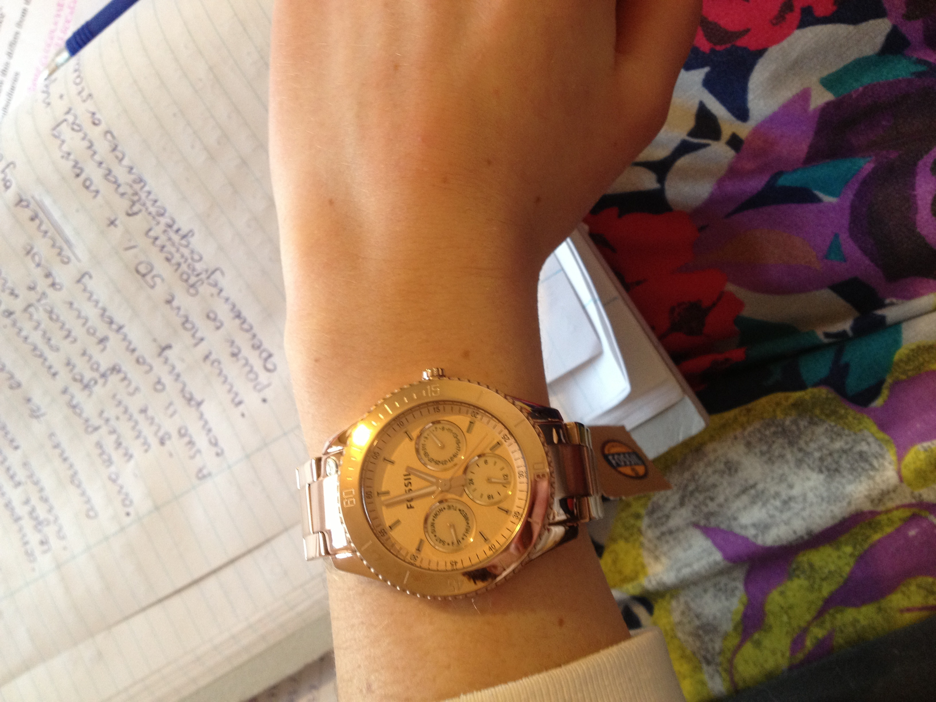 Fossil Rose Gold Colored Watch Excellent Condition Pretty Es3590 Stella Multifunction Tone Stainless Steel The Description Of Says It Has A Champagne Coloured Facing But This Is Not True Ros Colour Same As Strap