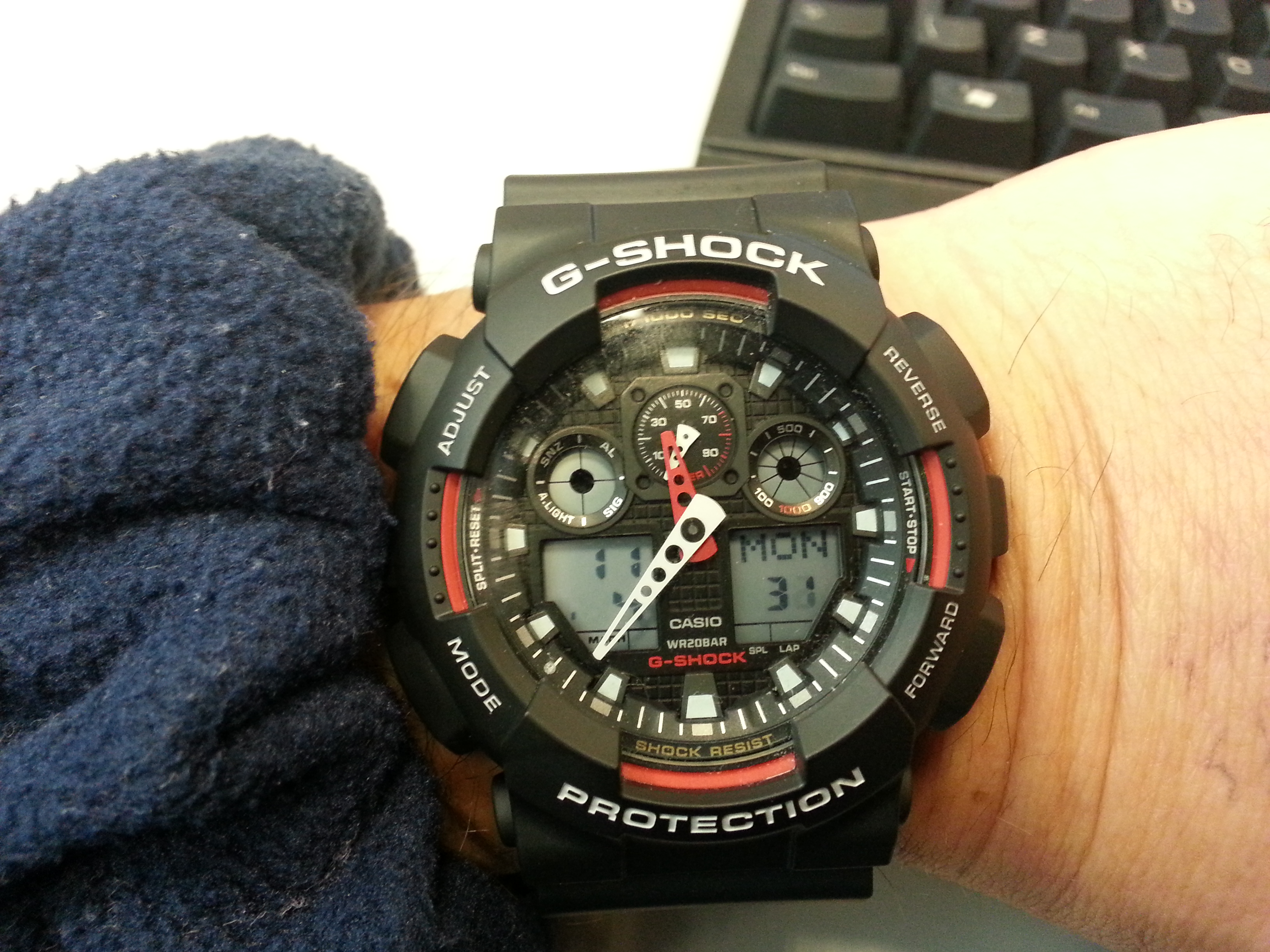 Gents Casio G Shock Alarm Chronograph Watch Ga 100 1a4er Both Have Been Verified I Like The Bmtb A Lot However Just Generally Pleased With Only Slight Problem Is That Hour Hand Not Easy To See At Night Even Illumination Light Pressed