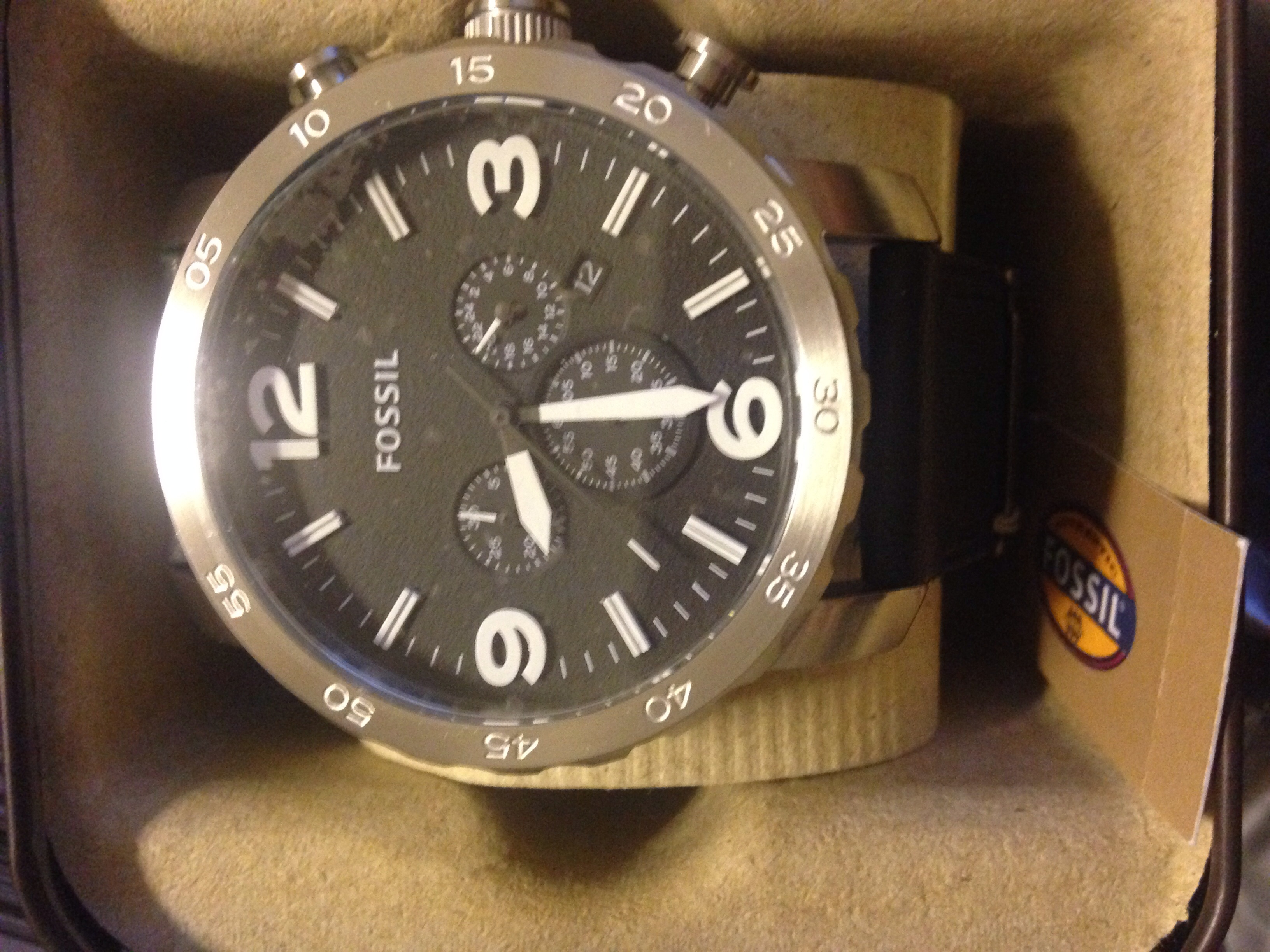Gents Fossil Nate Chronograph Watch Jr1436 Jr1401 Black Stainless Steel I Love This The Design Of It Was A Present For My Boyfriend And He Loves Too Has Large Face But Does Not Look